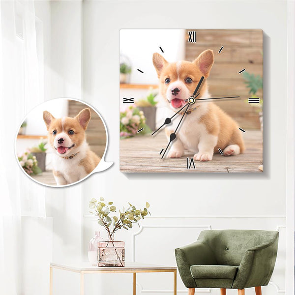 Custom Photo Wall Clock Square Clock 20*20cm for Pet Lover