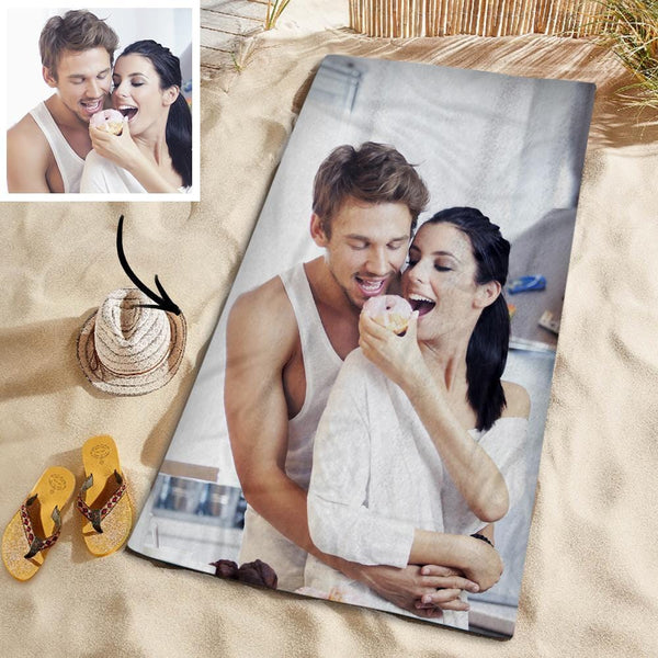 Customized Photo Personalized Beach Towel Gift Spring Break Towel for Husband 150*145cm