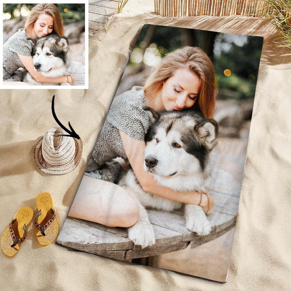 Customized Photo Personalized Beach Towel Gift Beach Vacation Towel for Pet 150*145cm