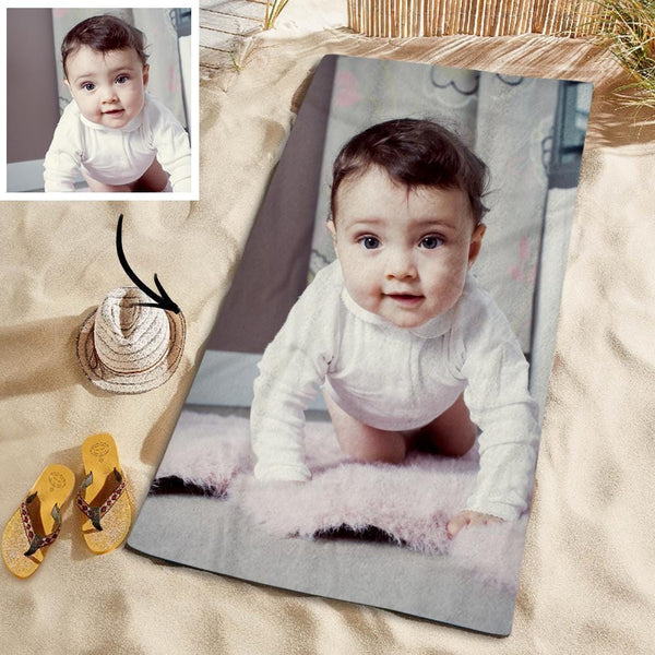 Customized Photo Personalized Beach Towel Gift Spring Break Towel for Baby 150*145cm