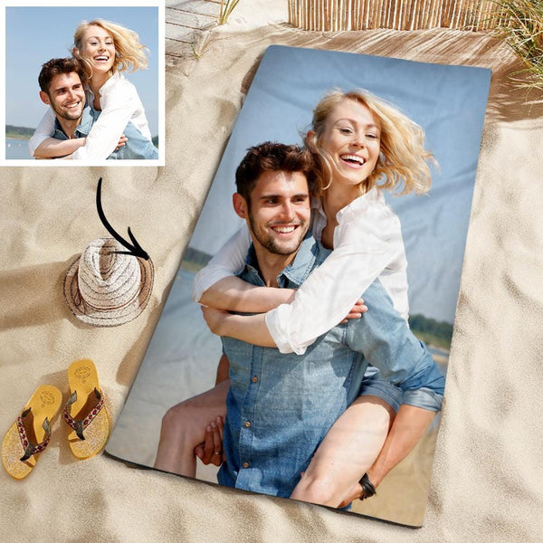 Customized Photo Personalized Beach Towel Gift Pool Towel for Wedding Anniversary 150*145cm