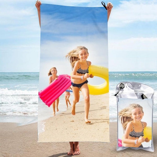 Personalized Bath Towels Custom Print Beach Towels Quick-dry Ultrafine Fiber My Best Friends