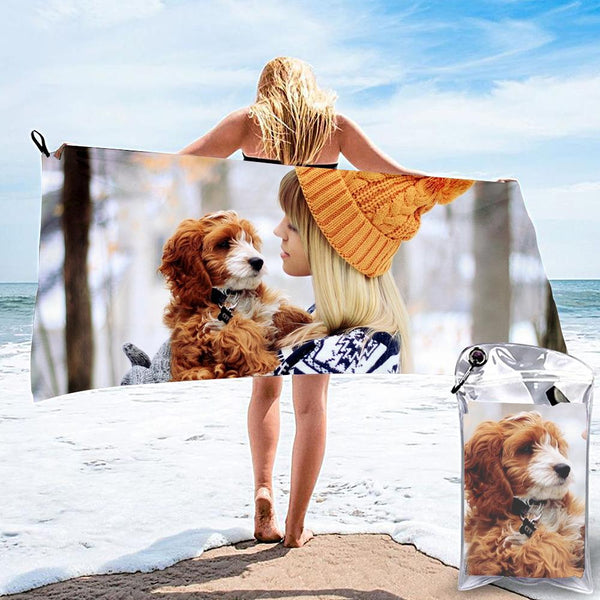 Horizontal Personalized Bath Towels Custom Photo Beach Towels Quick-dry Ultrafine Fiber Pet