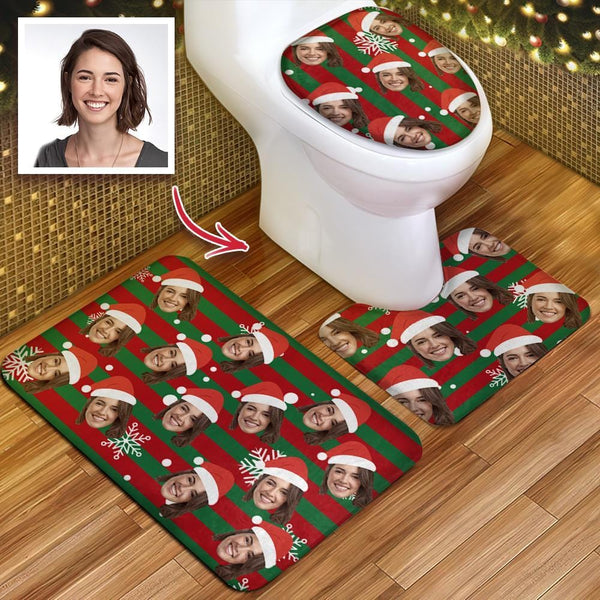 Custom Women Face Christmas Hat Photo Toilet Rug Set Personalized 3 Piece Set Toilet Non-Slip Contour Mat Lid Cover Christmas GIft