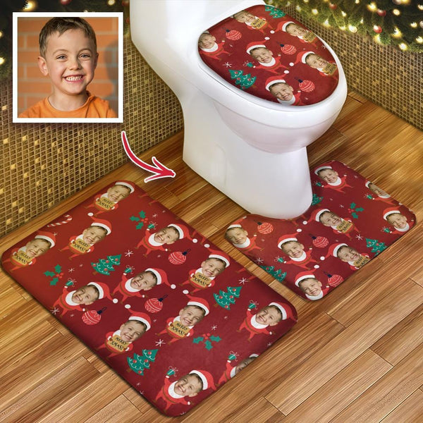 Custom Kids Face Christmas Hat Photo Toilet Rug Set Personalized 3 Piece Set Toilet Non-Slip Contour Mat Lid Cover Christmas GIft