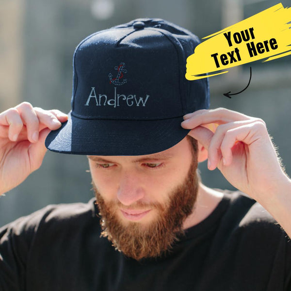 Custom Text Cap for Boy Summer Cap Dark Blue