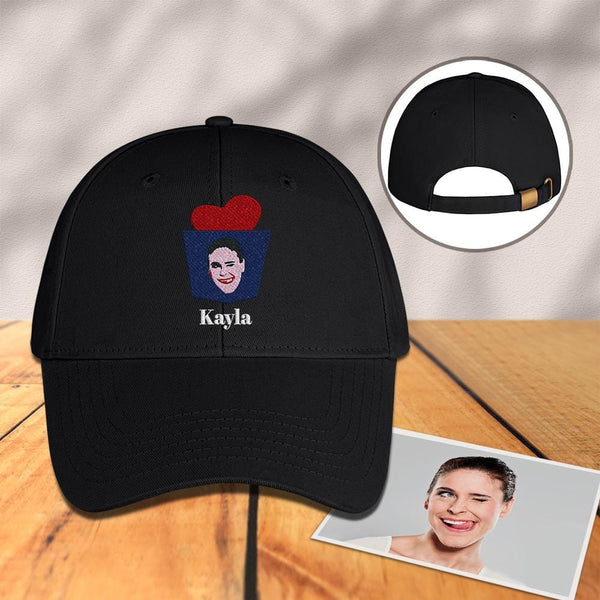 Custom Engraved Photo Baseball Cap Black with Metal Button
