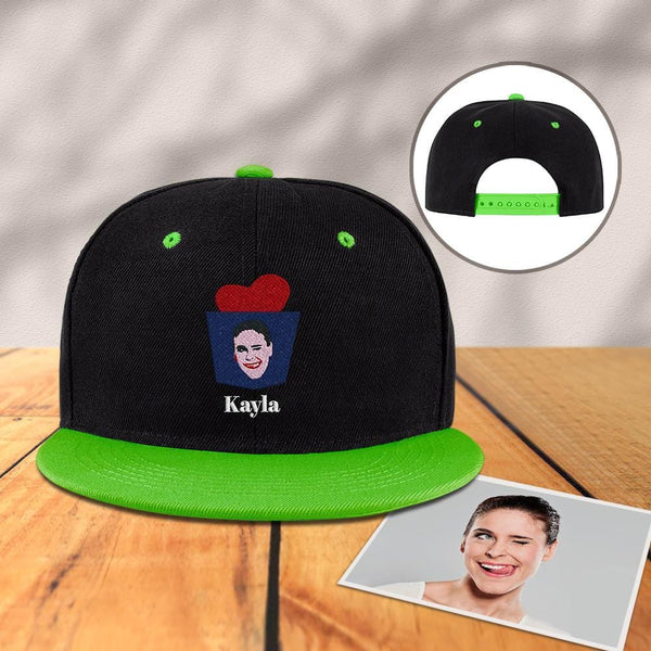 Custom Engraved Photo Baseball Cap Black and Green