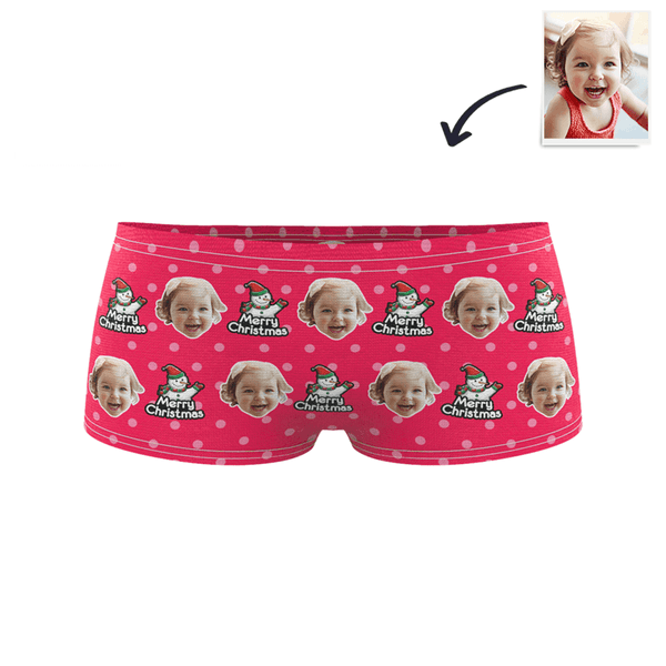 Christmas Snowman Kids Custom Face Boxer Briefs
