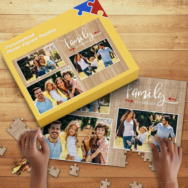 Custom Photo Jigsaw Puzzle with Free Box Family is Forever 35-1000 Piece Jigsaw