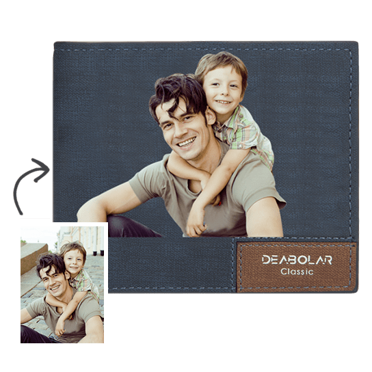 Custom Photo Wallet Father's Gift Dad And Son Bifold Short Wallet