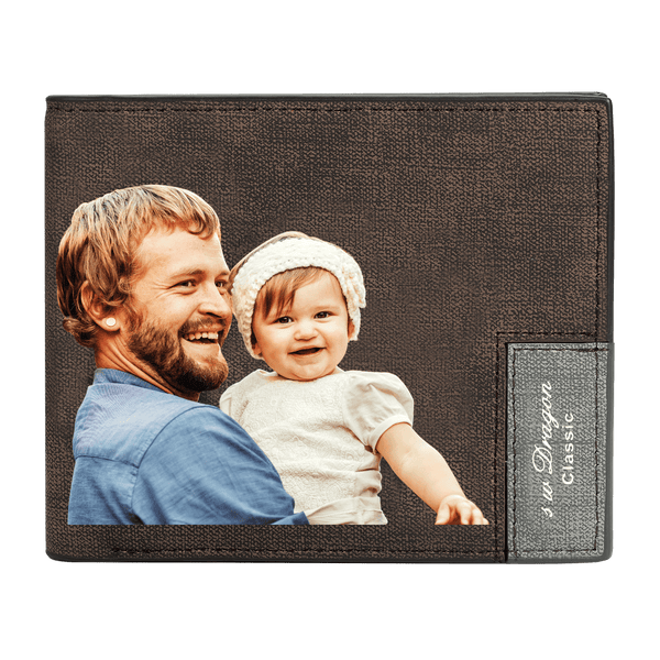 Custom Photo Wallet Best Dad Father's Gift Bifold Leather Wallet