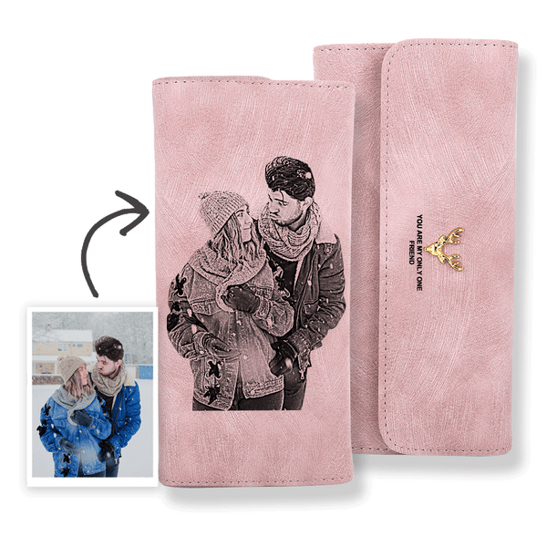 Trifold Custom Photo Wallet Women's Wallet Pink Leather Wallet