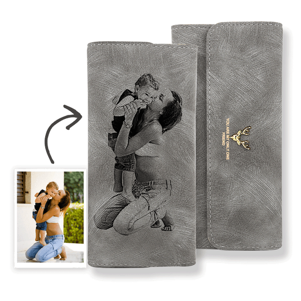 Custom Photo Wallet Super Mom Grey Leather Trifold Wallet