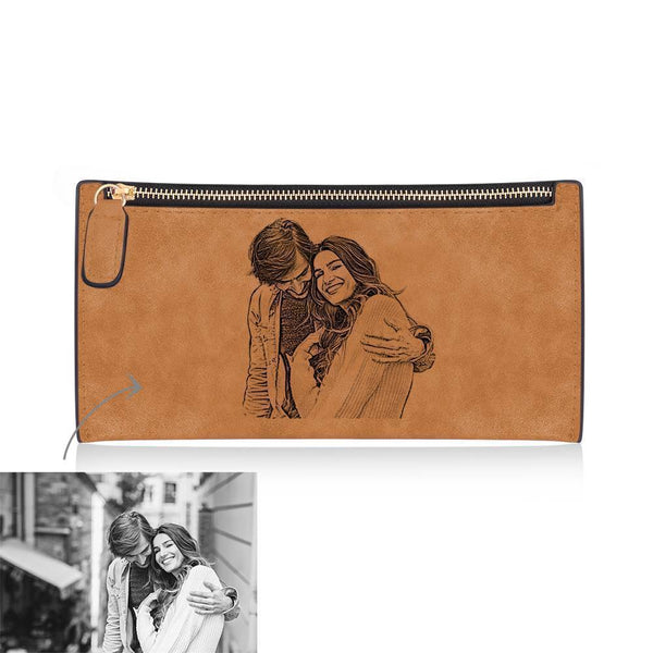 Custom Inscription Photo Zipper Wallet Couples Brown Leather Wallet