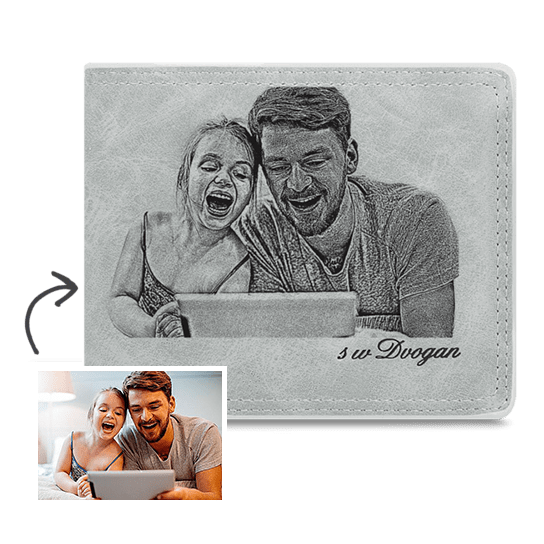 Personalized Photo Wallet Accompany My Father Grey Wallet