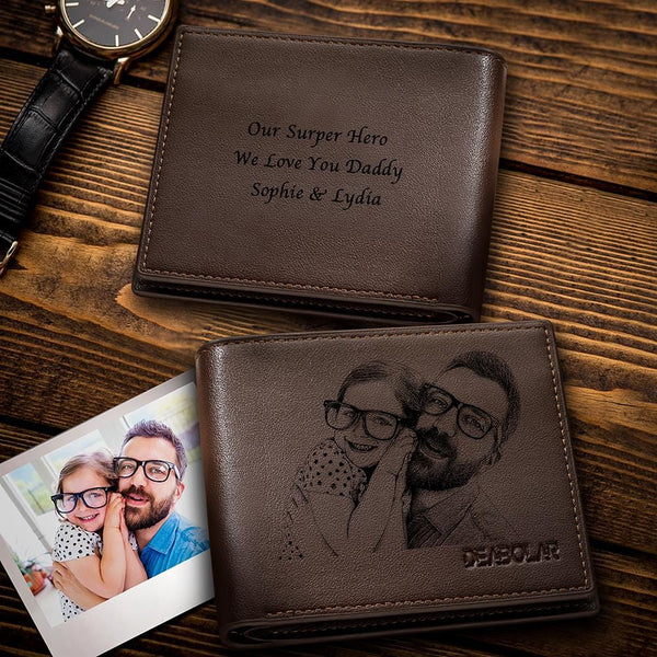 Trifold Custom Photo Wallet My Best Father Brown Wallet