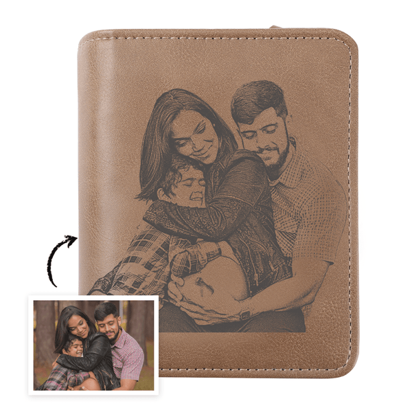 Men's Trifold Brown Custom Sketch Photo Wallet