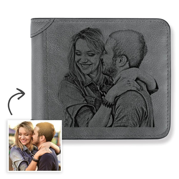 Men's Custom Engraved Photo Wallet Grey Leather