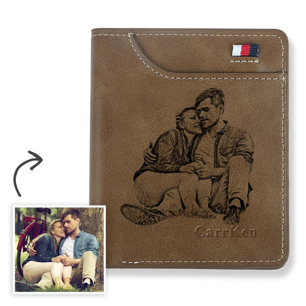 Men's Personalized Engraved Photo Wallet Brown Leather
