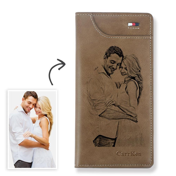 Women's Custom Engraved Photo Wallet Brown Leather