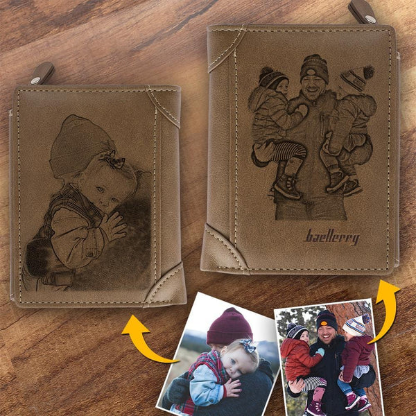 Custom Photo Wallet Dad Is Hero Father's Gift Short Style Wallet