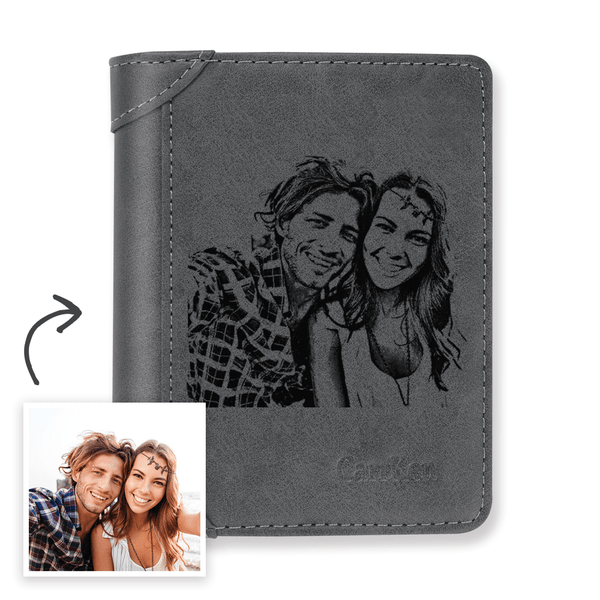Men's Custom Engraved Photo Wallet Grey Leather With Coin Pocket
