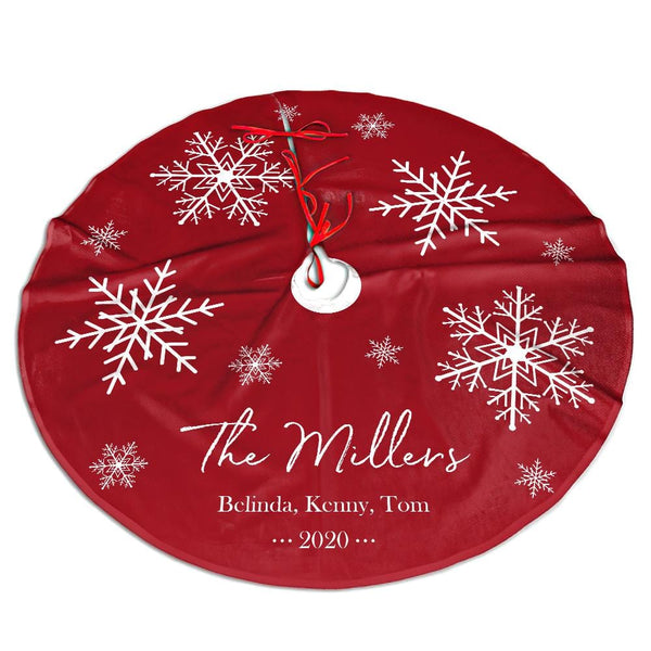 Custom Family Christmas Tree Skirt Personalized Snowflake Engraved Text Tree Skirt Christmas Home Decor Christmas Gift