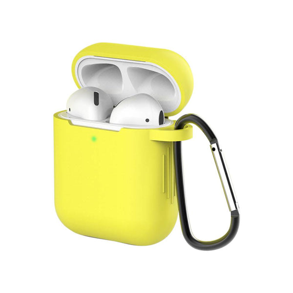 Bright Solid Color Silicone Keychain AirPods  Earphone Case