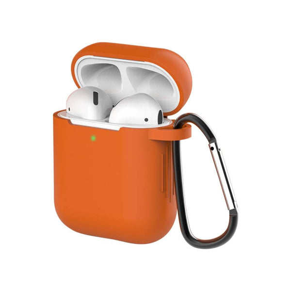 Bright Orange Silicone Keychain AirPods  Earphone Case
