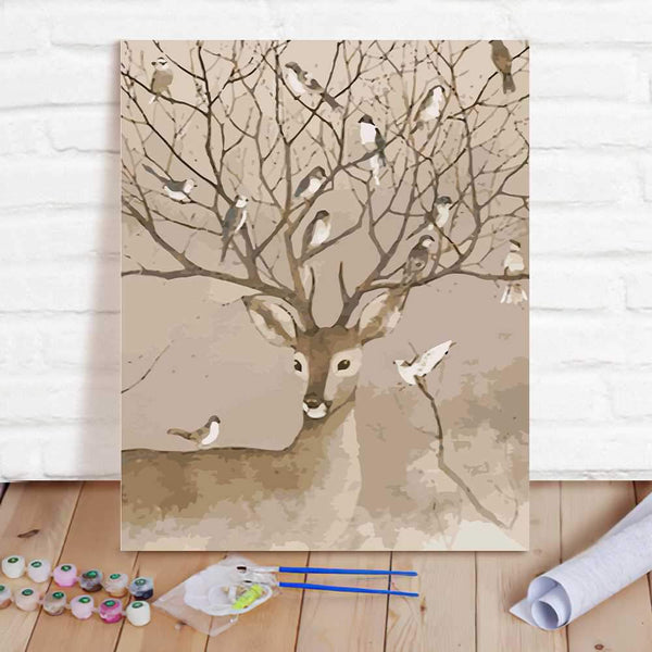 Paint By Numbers Custom Paint By Number Kits - Deer & Birds