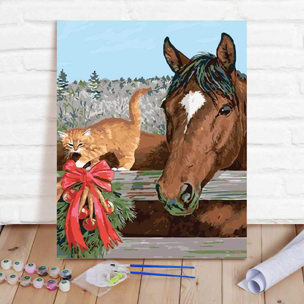 Paint By Numbers Custom Paint By Number Kits - Horse & Cat