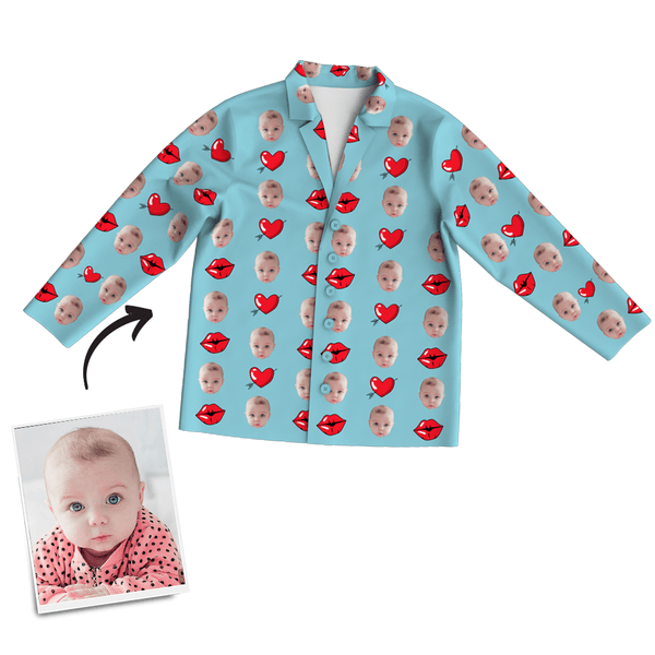 Multi-Color Custom Baby Photo Long Sleeve Pajamas, Sleepwear, Nightwear - Kiss