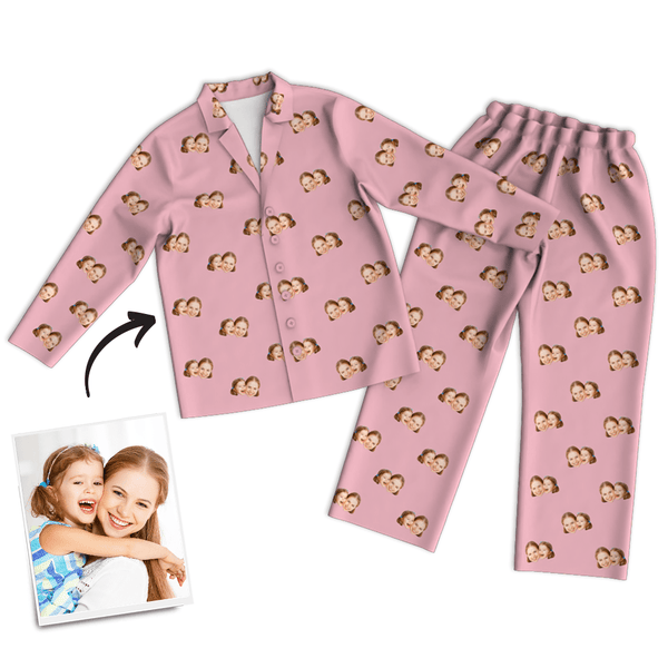 Mother's Day Gifts - Multi-Color Custom Photo Long Sleeve Pajamas, Sleepwear, Nightwear
