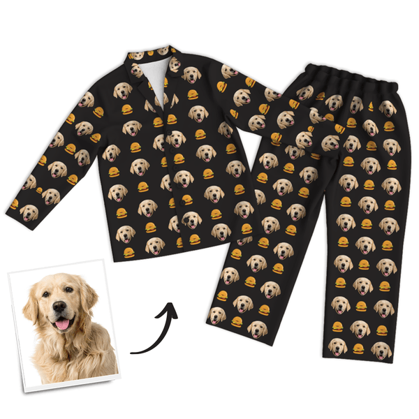 Multi-Color Custom Pet Photo Long Sleeve Pajamas, Sleepwear, Nightwear