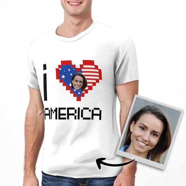 Custom Face I love America T-shirt