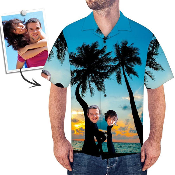 Custom Face Shirt Men's All Over Print Hawaiian Shirt Beach and Sunset