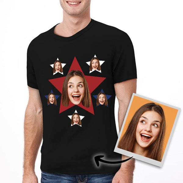 Custom Photo T-shirt Star T-shirt Gift for Independence