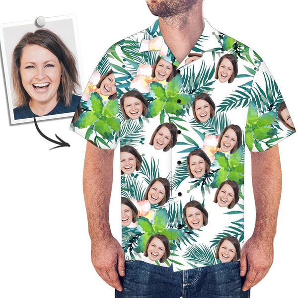Custom Face Shirt Men's All Over Print Hawaiian Shirt