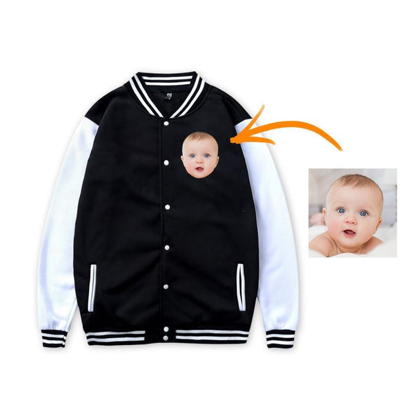 Custom Photo Baseball Jacket Sportswear Gray Black Pink Front - for Newborn Baby Gifts