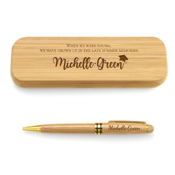 Engraved Wood Pen Set Custom Gifts Set of Two