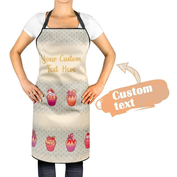 Custom Apron Kitchen With Your Text And Cute Cupcake