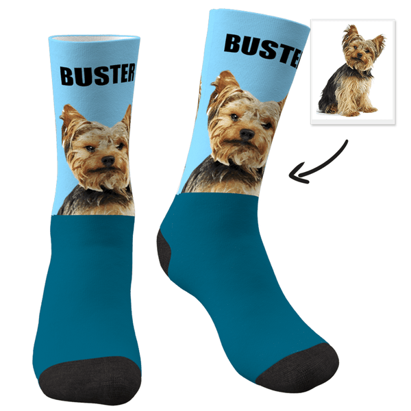 Custom Photo Dog Socks Painted Art Portrait With Your Text - MyPhotoSocks