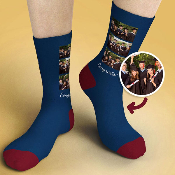 Custom Photo Sock 3 Pictures Graduation Gifts Sock