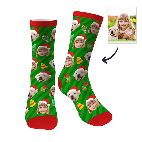 Custom Face Socks Christmas Dog Hat Sublimated Sock Christmas Gifts