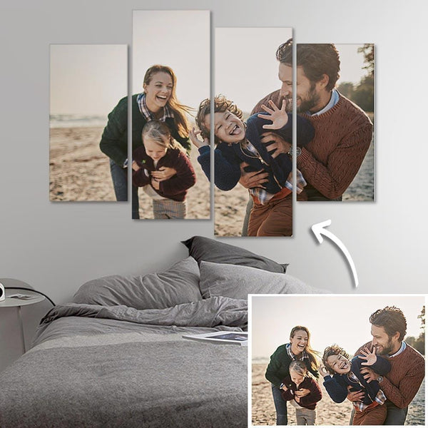 Custom Photo Wall Art 4 pcs Contemporary Canvas Print Wall Art For Family - Father's Day Gifts