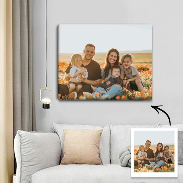 Custom Photo Canvas Prints With Frame Sweet Family Wall Decor 45*30cm