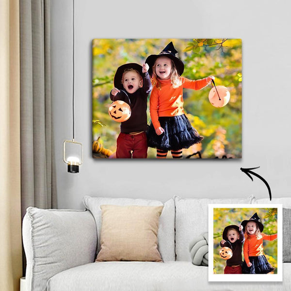 Custom Halloween Photo Canvas Print With Frame Home Wall Decoration 30*25cm