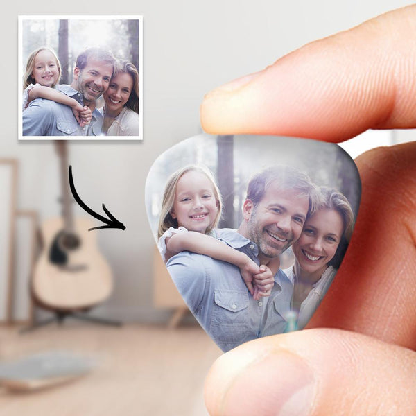 Personalized Guitar Pick with Photo Gift for Family - 12pcs
