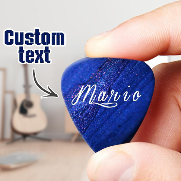 Custom Text Guitar Pick 6pcs Dark Blue